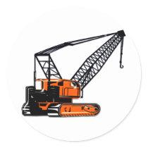 Orange Construction Crane Classic Round Sticker