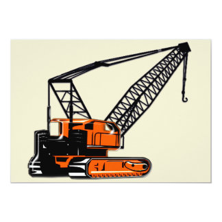 Orange Construction Crane 5x7 Paper Invitation Card