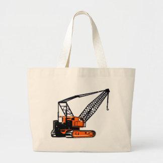 Orange Construction Crane Large Tote Bag