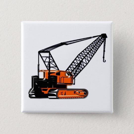 Orange Construction Crane Pinback Button