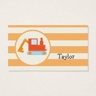 Orange Construction Toy Backhoe Business Card