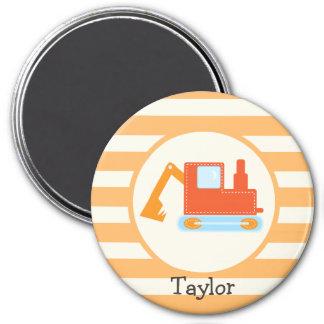 Orange Construction Toy Backhoe 3 Inch Round Magnet