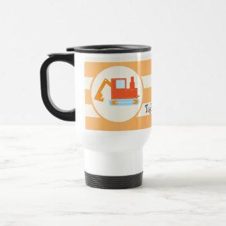 Orange Construction Toy Backhoe 15 Oz Stainless Steel Travel Mug