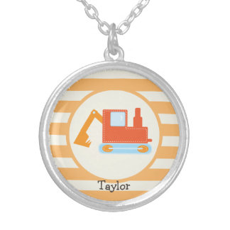 Orange Construction Toy Backhoe Necklace