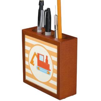 Orange Construction Toy Backhoe Pencil Holder