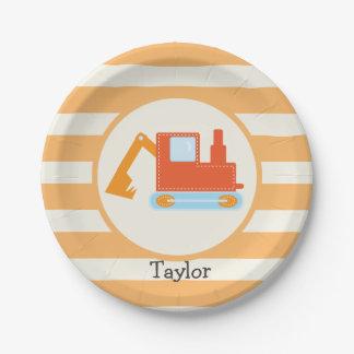 Orange Construction Toy Backhoe 7 Inch Paper Plate