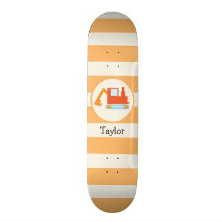 Orange Construction Toy Backhoe Skateboard Deck