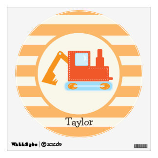 Orange Construction Toy Backhoe Room Stickers