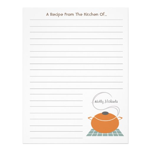 Orange Cooking Pot From The Kitchen Of..Letterhead Letterhead