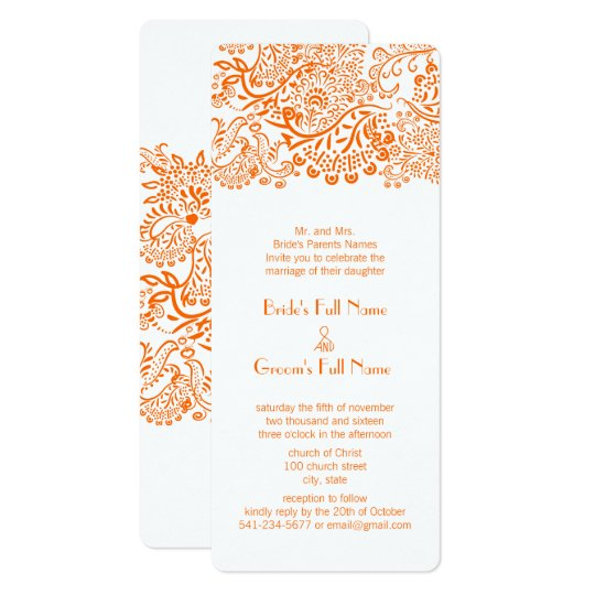 Orange C Love Bird Wedding Invitation