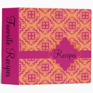 Orange Coral & Magenta Arabesque Moroccan Graphic Binder