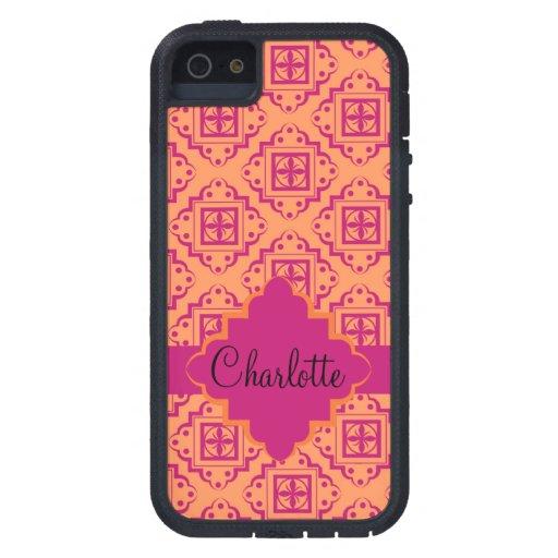 Orange Coral & Magenta Arabesque Moroccan Graphic iPhone 5 Case