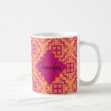 Coffee Themed Orange Coral & Magenta Arabesque Moroccan Graphic Coffee Mug