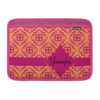 Orange Coral & Magenta Arabesque Moroccan Graphic MacBook Sleeve