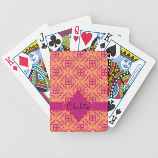 Orange Coral & Magenta Arabesque Moroccan Graphic Deck Of Cards