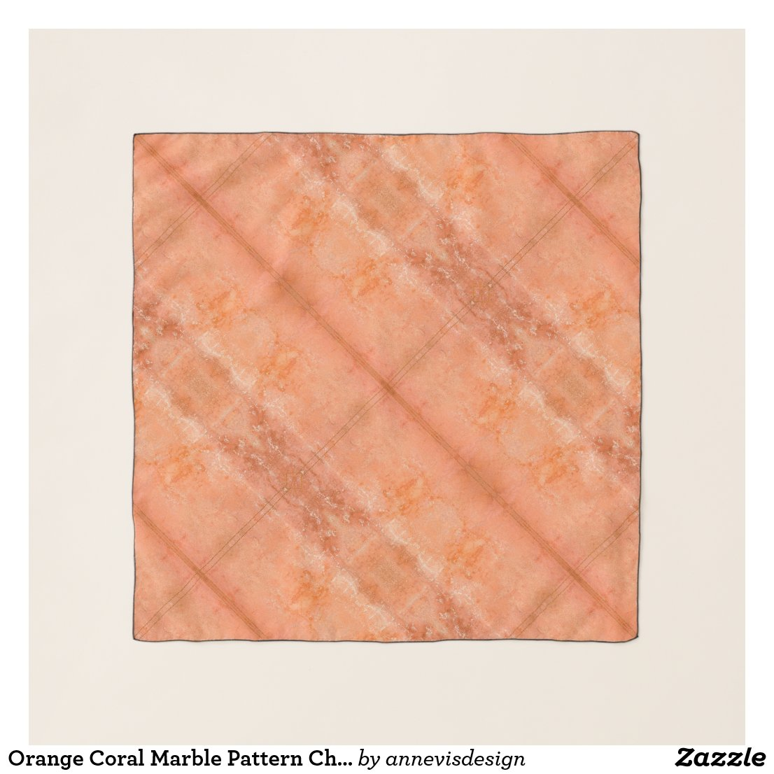 Orange Coral Marble Pattern Chiffon Scarf