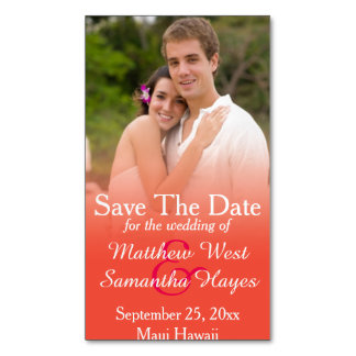 Orange Coral Photo Wedding Save The Date Magnetic Business Cards (Pack Of 25)
