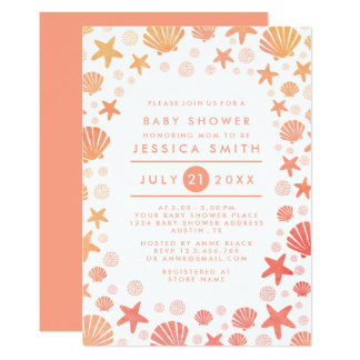 Orange-Coral Sea Things Baby Shower Invitation