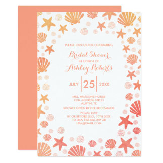 Orange-Coral Sea Things Bridal Shower Invitation