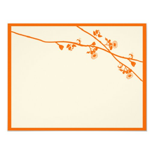 Orange Coral Wild Flower Branches Wedding RSVP Personalized Invitations