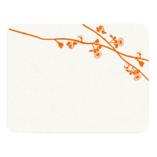 Orange Coral Wildflower Rustic Wedding RSVP Custom Announcement