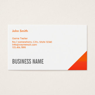 Orange Corner Game Testing Business Card