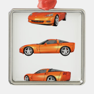 Orange Corvette: Metal Ornament