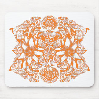 Orange Cosmic Flower Explosion Mouse Pad