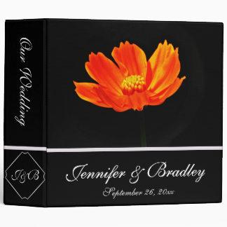 Orange Cosmos Flowers Wedding Binder