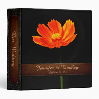 Orange Cosmos Flowers Wedding Leather Look Binder