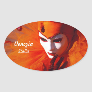 Orange Costume At The Carnival Of Venice, Italy Oval Sticker