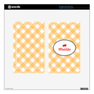 Orange country gingham pattern red cherry personal kindle fire skin
