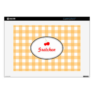 Orange country gingham pattern red cherry personal skin for laptop