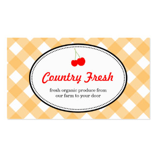 Orange country gingham pattern red cherry produce Double-Sided standard business cards (Pack of 100)