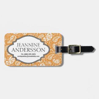 Orange Country Western Bandana Style Paisley Print Travel Bag Tags