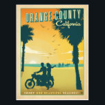 """Orange County, CA Postcard<br><div class=""""desc"""">Anderson Design Group is an award-winning illustration and design firm in Nashville,  Tennessee. Founder Joel Anderson directs a team of talented artists to create original poster art that looks like classic vintage advertising prints from the 1920s to the 1960s.</div>"""