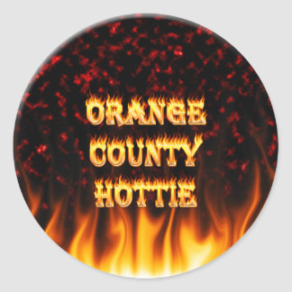 Orange county hottie fire and flames Red marble. Classic Round Sticker