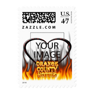 Orange county hottie fire and flames Red marble Postage