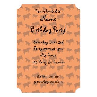 Orange cow pattern 5x7 paper invitation card
