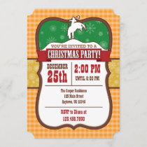 Orange Cowboy Christmas Party Invitation