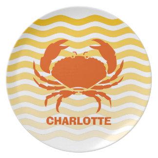 Orange crab on a sandy seashore melamine plate