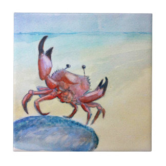 Orange Crab on the Beach Tile