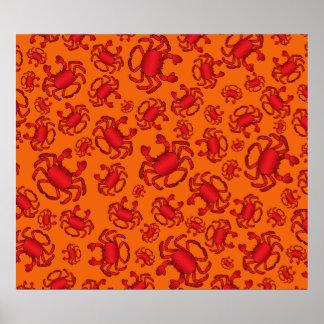 Orange crab pattern print
