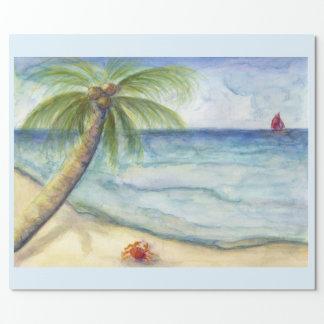 Orange crab sail boat  costal scene palm tree wrapping paper