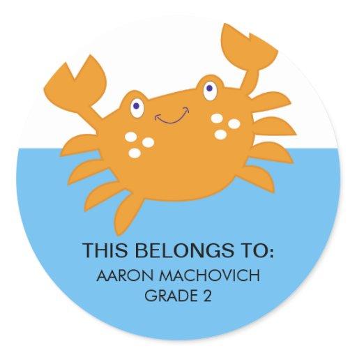 Orange Crab Sticker / Bookplate Label