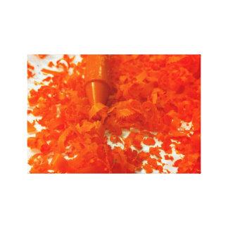 Orange Crayon with Shavings Photo Canvas
