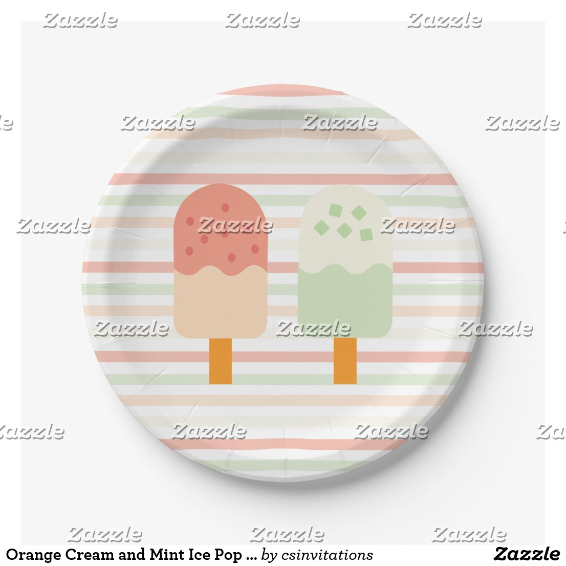 Orange Cream and Mint Ice Pop Birthday Party Paper Plate