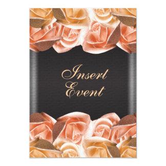 Orange cream black wedding rose elegant 5x7 paper invitation card