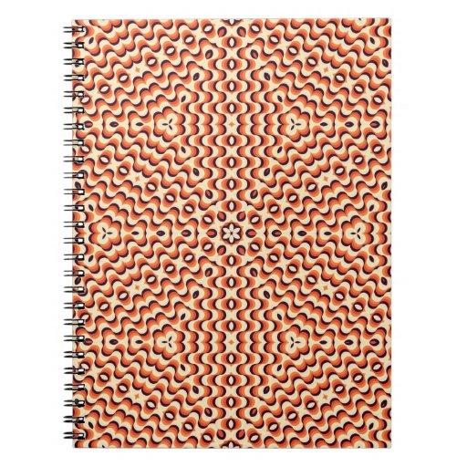 Orange, Cream, Brown Floral Art Seamless Spiral Notebooks