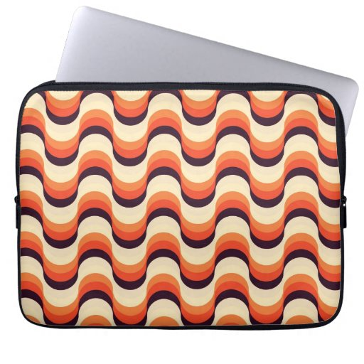 Orange, Cream, Brown Retro Fifties Abstract Art Computer Sleeve